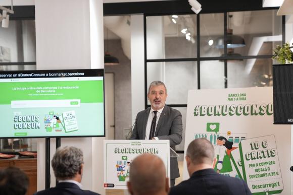 El primer teniente de alcalde de Barcelona, Jaume Collboni, presenta la plataforma online bcnMarket y el 'Bonus Consum' para fomentar las compras en el comercio local en la ciudad. AJUNTAMENT DE BARCELONA 4/10/2021
