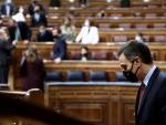 El presidente del Gobierno,Pedro Sánchez durante el debate de la moción de censura presentada por Vox contra el gobierno de coalición, este miércoles en el Congreso de los Diputados. EFE/Mariscal