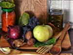 Frutas, verduras, aceite y otros alimentos de la dieta mediterránea