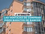 Infografía sobre las ventajas de comprar pisos baratos de bancos.