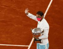 Rafa Nadal celebrates his 13th victory at Roland Garros in the 2020 edition.