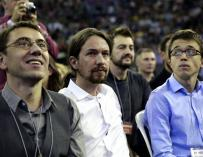 Iglesias together with Monedero and Errejón, three of the founders of Podemos