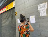A woman photographs one of the posters with instructions to carry out online procedures placed on the facade of a SEPE office on the day the data of the June strike is known, in Madrid (Spain), on July 2, 2020. The number of unemployed registered in the offices of the State Public Employment Service (formerly Inem) rose by 5,107 unemployed in June (+ 0.1%), its highest increase in a month of June since 2008, according to data from the Ministry of Labor and Social economy.  JULY 02, 2020; SEPE; 2008; MADRID; UNEMPLOYMENT; INEM; PUBLIC SERVICE OF STATE EMPLOYMENT Eduardo Parra / Europa Press (FILE Photo) 7/2/2020