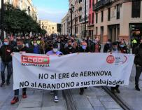 Demonstration by CCOO and UGT to demand the withdrawal of the ERE from Aernnova