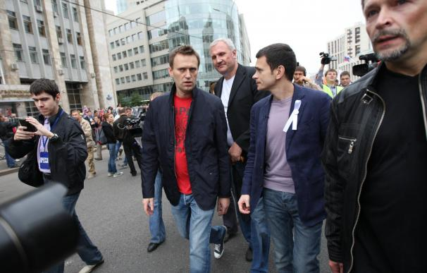 Navalni duró unos minutos en la manifestación