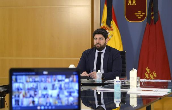 El presidente López Miras en la videoconferencia mantenida con Pedro Sánchez