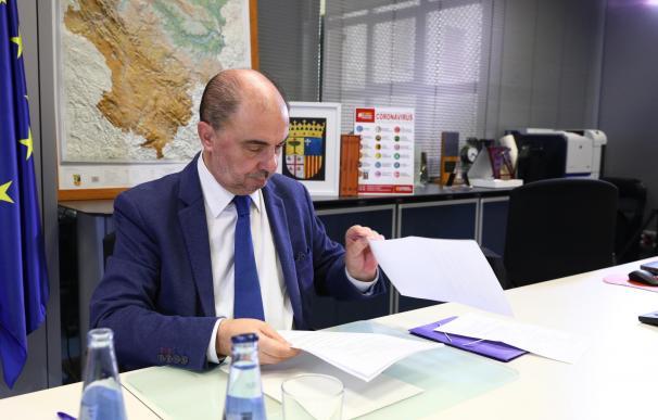 Javier Lambán participa en la décima videoconferencia de presidentes autonómicos con Pedro Sánchez