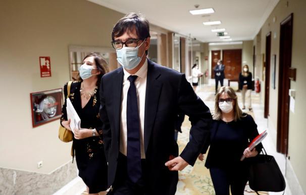 El ministro de Sanidad, Salvador Illa, antes de comparecer este jueves ante la correspondiente comisión del Congreso para dar cuenta de la evolución de la pandemia de la Covid-19. /EFE/Mariscal