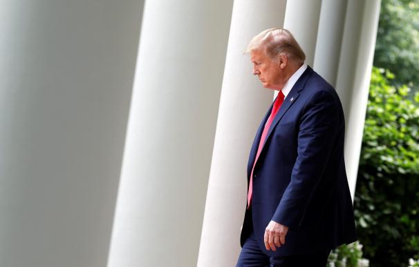 El presidente de Estados Unidos, Donald Trump, en su última intervención pública en la Casa Blanca