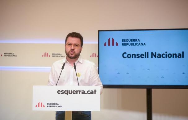 El vicepresidente de la Generalitat, Pere Aragonès, en el Consell Nacional de ERC El vicepresidente de la Generalitat, Pere Aragonès, en el Consell Nacional de ERC 6/6/2020