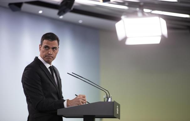 El presidente del Gobierno, Pedro Sánchez, durante una comparecencia en rueda de prensa.