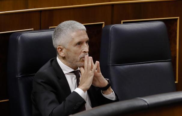 El ministro del Interior, Fernando Grande-Marlaska durante el pleno del Congreso que se celebra este miércoles en Madrid.