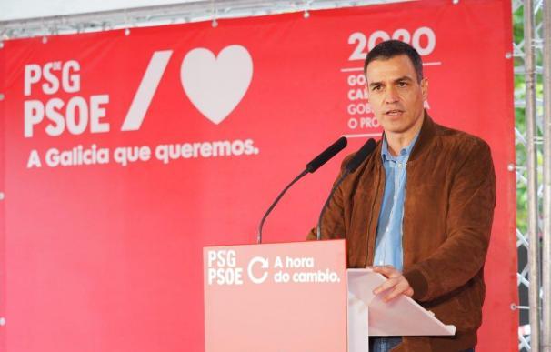 El presidente del Gobierno, Pedro Sánchez, en el inicio de la campaña electoral en Galicia.