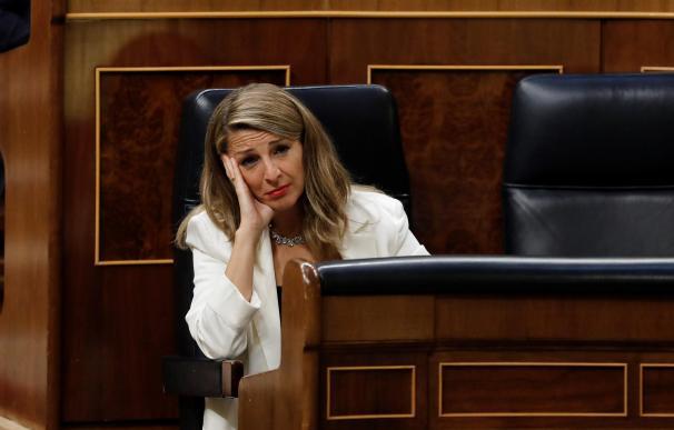 La ministra de Trabajo, Yolanda Díaz, en el Congreso de los Diputados.