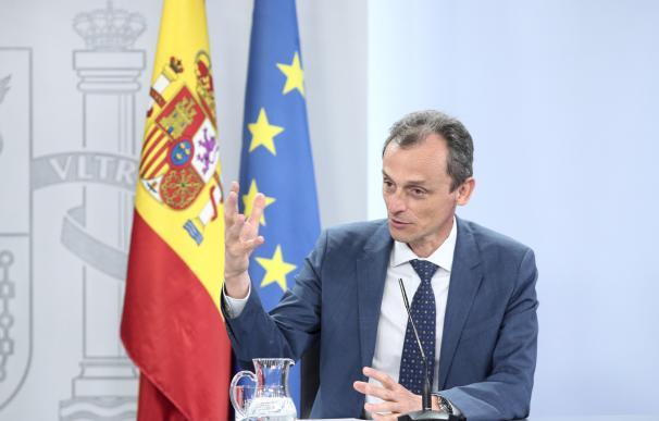 El ministro de Ciencia e Innovación, Pedro Duque, durante la comparecencia en rueda de prensa posterior al Consejo de Ministros celebrado en Moncloa