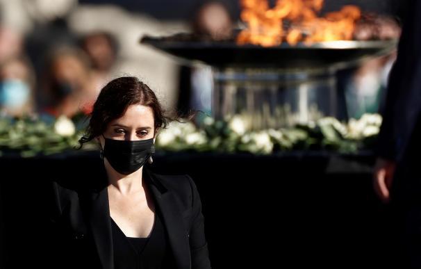 La presidenta de la Comunidad de Madrid, Isabel Díaz Ayuso, en el homenaje de Estado a las víctimas de la pandemia de coronavirus