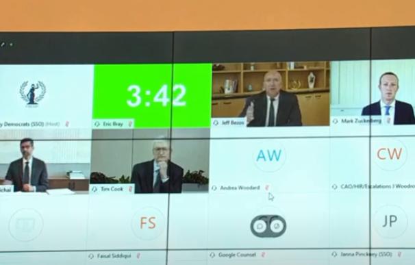 Pichai (Google), Tim Cook (Apple), Bezos (Amazon) y Zuckerberg (Facebook) esta semana en una videoconferencia ante el Congreso.