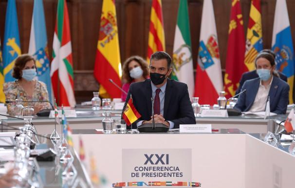 Pedro Sánchez, Pablo Iglesias, Montero, Calvo conferencia presidentes