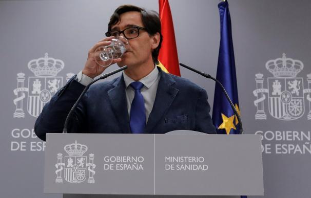El ministro de Sanidad, Salvador Illa, en rueda de prensa en Moncloa.