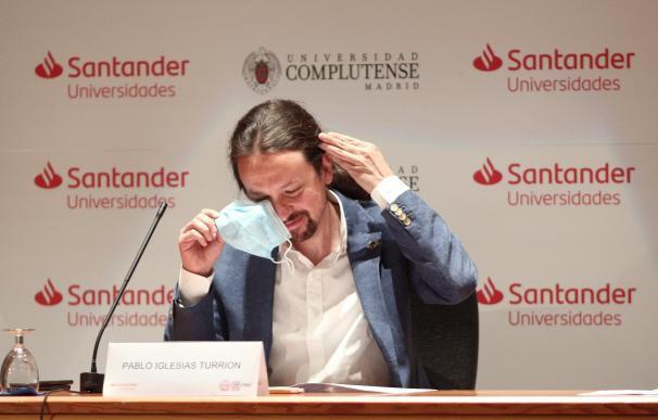 El vicepresidente segundo, Pablo Iglesias, en una conferencia pública este verano.