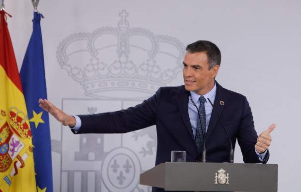 El presidente del Gobierno, Pedro Sánchez, en una rueda de prensa en Moncloa.