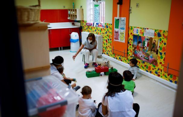 Guardería comienzo curso coronavirus mascarilla Madrid España niños colegio escuela