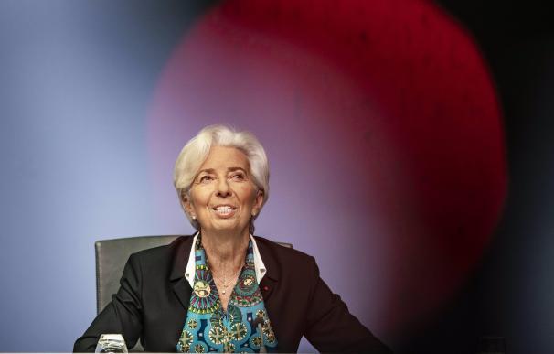 La presidenta del BCE, la francesa Christine Lagarde, en rueda de prensa.