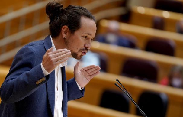 El vicepresidente segundo del Gobierno, Pablo Iglesias, en una sesión en el Senado.