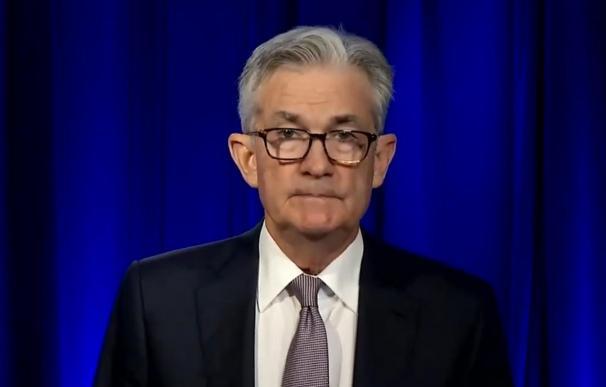 El presidente de la Fed, Jerome Powell, durante su intervención en un actor organizado por NABE el 6 de octubre de 2020. NABE 6/10/2020