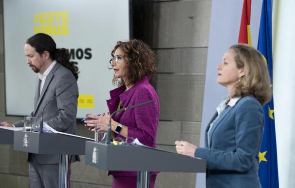 Pablo Iglesias, María Jesús Montero y Nadia Calviño