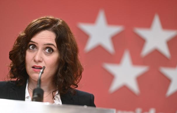 La presidenta de la Comunidad de Madrid, Isabel Díaz Ayuso durante la rueda de prensa conjunta con el vicepresidente Ignacio Aguado tras el Consejo de Gobierno de Madrid este miércoles.