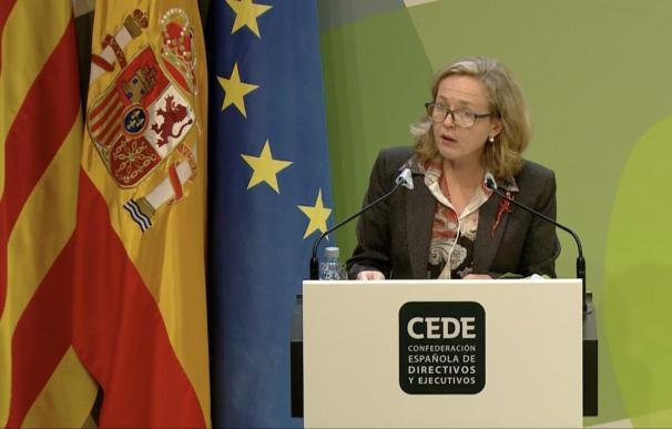 La vicepresidenta económica, Nadia Calviño, en un acto público.