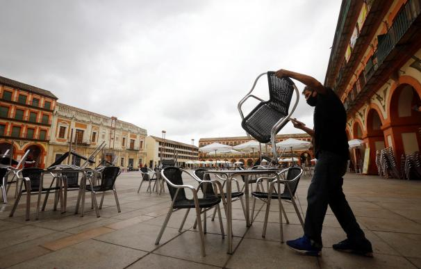 l trabajador de un bar prepara la terraza de un bar en Córdoba este domingo.