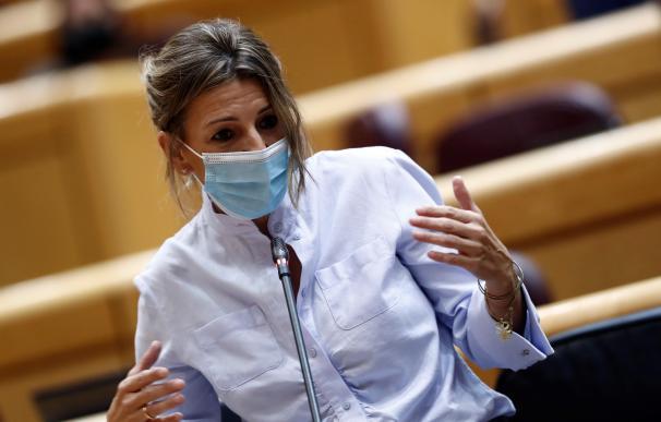La ministra de Trabajo Yolanda Díaz, interviene en el Senado