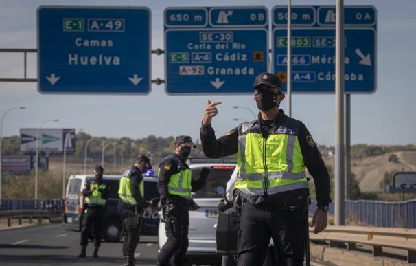 Varios agentes de Policía Nacional realizan un control de movilidad en los alrededores de Sevilla.