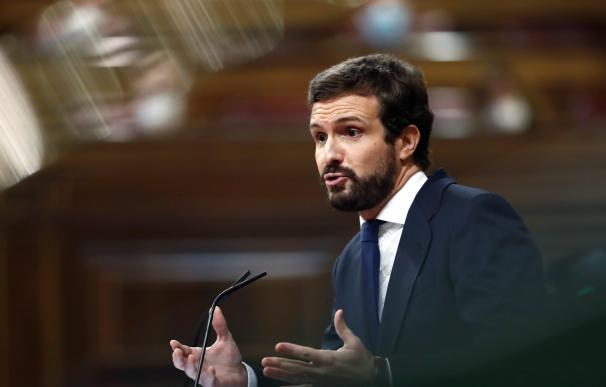 El presidente del Partido Popular, Pablo Casado, interviene durante el pleno del Congreso de los Diputados, este miércoles en Madrid