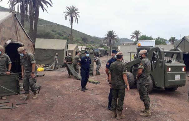 La Brigada Canarias XVI del Ejército de Tierra monta en los terrenos del antiguo polvorín de Barranco Seco, en Las Palmas de Gran Canaria, un campamento con capacidad para 800 persona