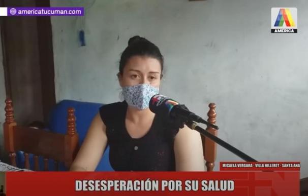 Micaela durante un momento de su entrevista en America TV Tucuman