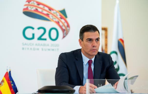 El presidente del Gobierno, Pedro Sánchez, durante su intervención en la cumbre virtual del G20.