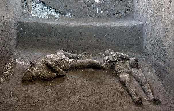 HANDOUT - 19 November 2020, Italy, Pompeii: A general view of the casts of two men who died in the eruption of Mount Vesuvius in 79 AD. The detailed body casts were recently discovered during excavations in the area. Photo: Luigi Spina/Parco Archeologico di Pompei/dpa - ATTENTION: editorial use only and only if the credit mentioned above is referenced in full Luigi Spina/Parco Archeologico d / DPA 19/11/2020 ONLY FOR USE IN SPAIN