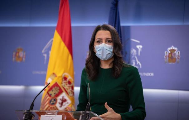 La líder de Ciudadanos, Inés Arrimadas, al anunciar el 'no' de su partido a los Presupuestos Generales del Estado 2021