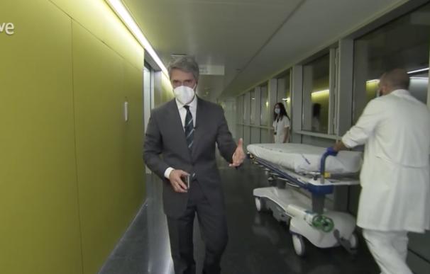 Carlos Franganillo en el Telediario desde el hospital