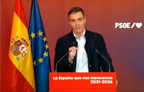 El presidente del Gobierno, Pedro Sánchez, durante un acto del PSOE celebrado en Ferraz.