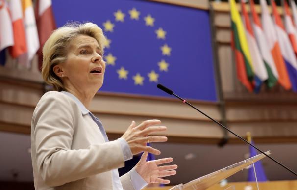 La presidenta de la Comisión Europea, Ursula Von Der Leyen, en una sesión en Bruselas.