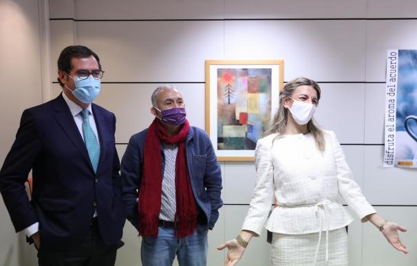 Garamendi, Álvarez y Díaz, en la firma del último acuerdo de agentes sociales.
