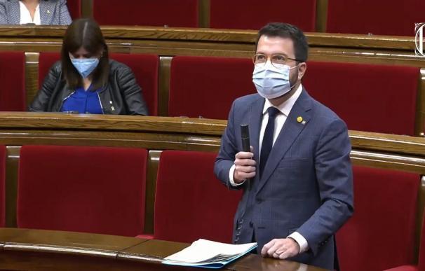 El vicepresidente de la Generalitat, Pere Aragonès, en el pleno del Parlament. EUROPA PRESS 2/12/2020