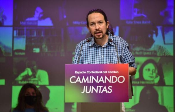 El secretario general de Podemos y vicepresidente segundo del Gobierno, Pablo Iglesias, interviene en el Consejo Confederal de Unidas Podemos.
