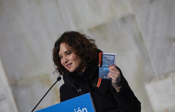 La presidenta de la Comunidad de Madrid, Isabel Díaz Ayuso, interviene durante el homenaje del PP de Madrid a la Constitución Española con motivo de su 42 aniversario