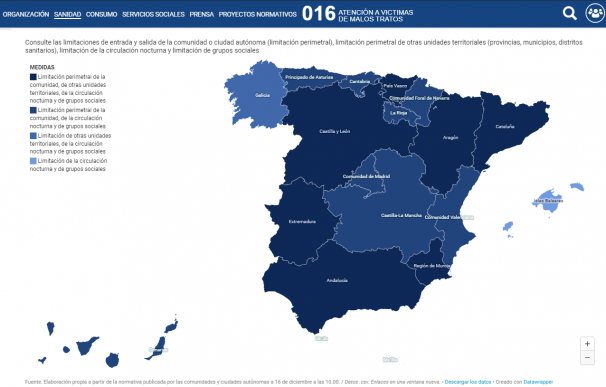 mapa interactivo sanidad