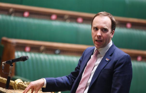 ministro de Sanidad británico, Matt Hancock, en una sesión en el Parlamento.